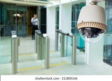 CCTV camera or surveillance operating in building entrance