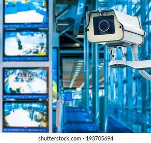 CCTV Camera or surveillance operating with monitor in background