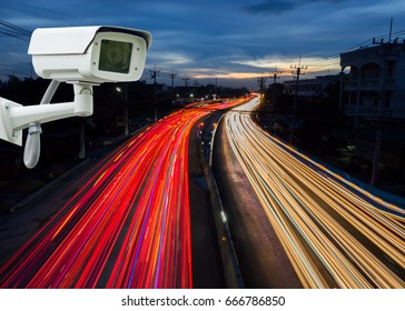 CCTV camera or surveillance Operating on traffic road, security cameras