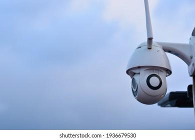 CCTV camera surveillance system outdoor of house.