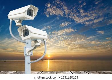 Cctv camera system on the technology pole