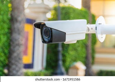 Cctv camera system , Outdoor IP Surveillance Camera hight technology store up to 24 hours of camera activity to playback later.Concept of home security technology