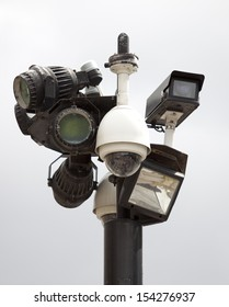CCTV cameras against gray sky