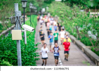 CCTV cameras are often installed at various points to record safety events and as evidence in the search for offenders. It can be seen in the park, separate roads.