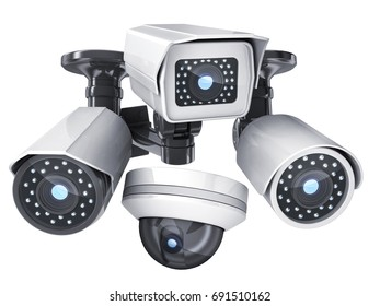 CCTV cameras on white isolated background. 3d illustration