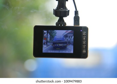 CCTV car camera for safety on the road. Camera recoder