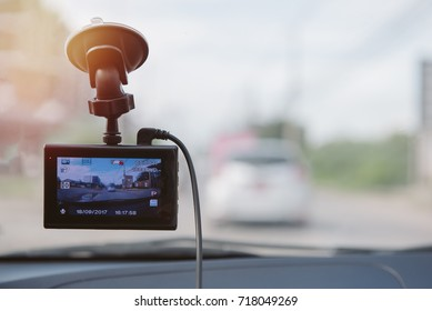 CCTV car camera for safety on the road accident. Safety concept.