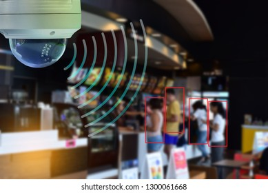 CCTV Dome infrared camera new technology 4.0 signal for Counting number of people in area or counting customer in shop and restaurant simple as in red line are signal of counting by CCTV system.