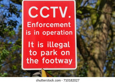 CCTV Enforcement Sign, , with text, It is illegal to park on the footway