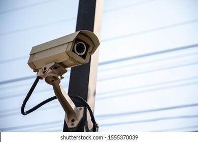 CCTV installment on public electrical pole.