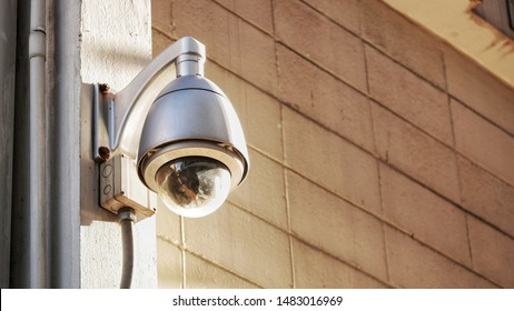 CCTV on the wall of the building. The public security CCTV camera is a growing problem for cities worldwide. Smart cities are, as a concept, safer cities. closed circuit camera.