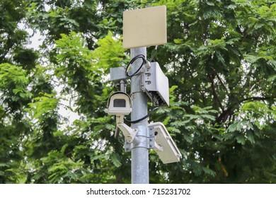 CCTV Security camera in the garden.