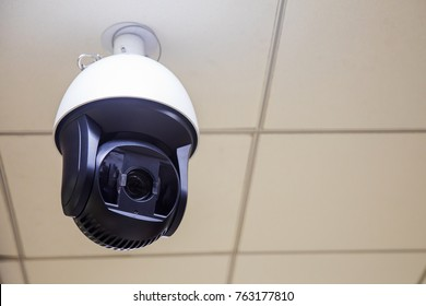 CCTV security camera hang on ceiling