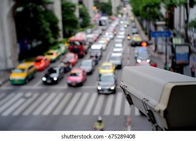 CCTV Security camera monitoring on street.