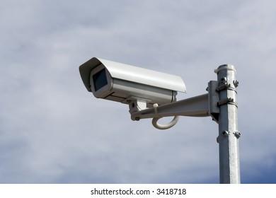 CCTV security camera on the city street.
