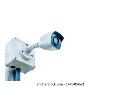 CCTV security camera on white background. File contains with clipping path so easy to work.