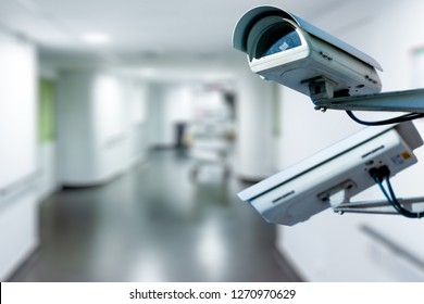 The CCTV Security Camera operating in hospital blur background.