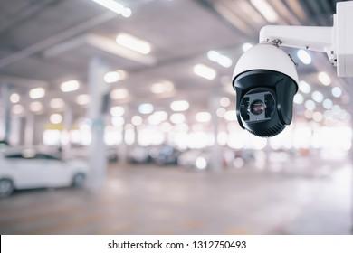 CCTV Security Camera setup on Parking lot