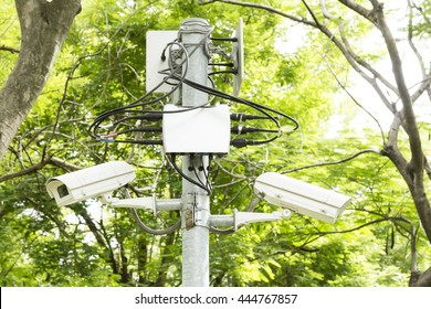 CCTV security camera surveillance in the park.