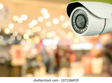 CCTV security with shop store blurry background.