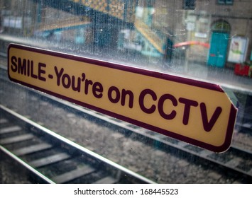 CCTV Sticker Sign On A Train Window In A Station