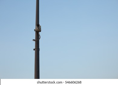 CCTV or Surveillance Camera Installed on Lamp Post