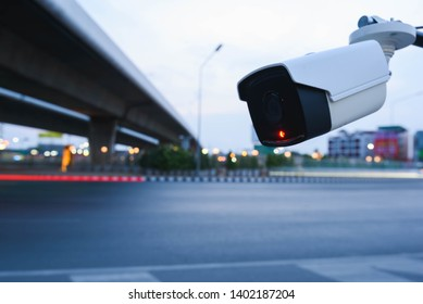 CCTV surveillance camera operating on traffic road