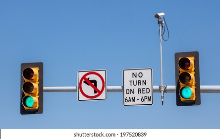 CCTV, Surveillance security camera with the traffic light and sign against a blue sky