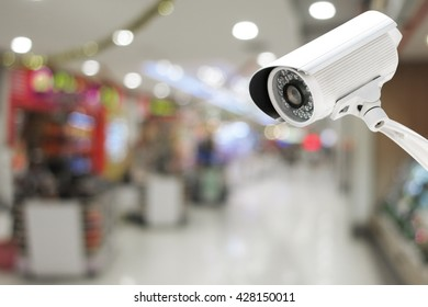 CCTV system security or security camera monitoring in the Shopping Mall blur with bokeh background.