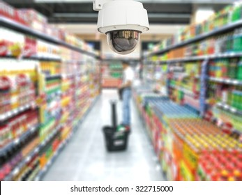 CCTV system security in shopping mall supermarket blur background.