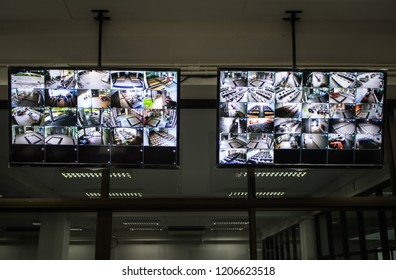 CCTV system with two monitors to display images from the multiple camera views in security room