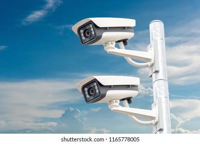 CCTV systems on sky background