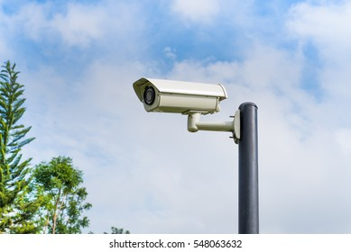 CCTV(Closed-circuit television) security camera installed in the park.