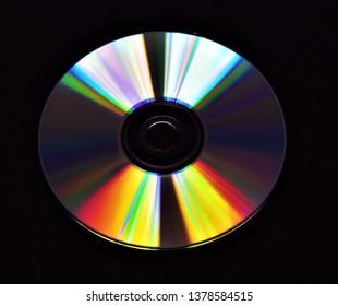 CD disc storage media with black background