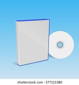 cd or dvd disc cover mockup blue box