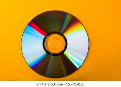CD isolated in yellow background