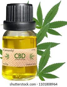 CDB Cannabis Oil with cannabis background