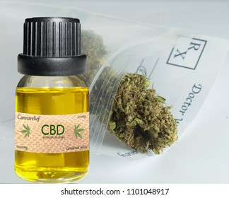 CDB oil vial with cannabis in background