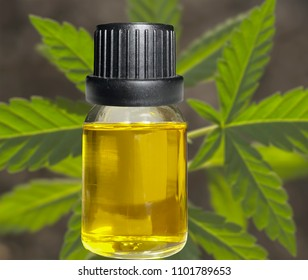 CDB oil vial with cannabis background
