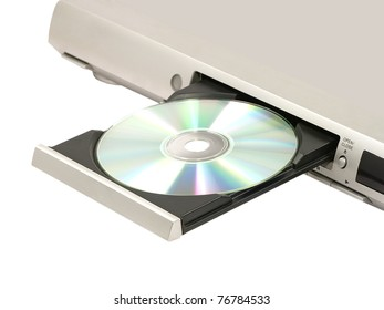 CD/DVD player with opened doors on white background.