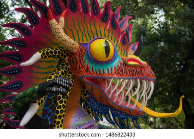 CDMX Mexico / Nov 02 2017 Alebrijes are brightly colored Mexican folk art sculptures of fantastical creatures, important of mexican culture