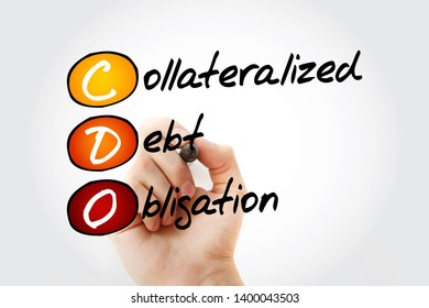 CDO - Collateralized Debt Obligation acronym with marker, business concept background
