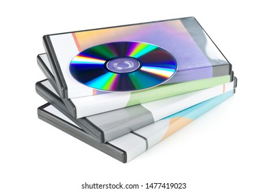 CD-ROM or Blu-Ray disc with stacked boxes for movies, audio or software on white background