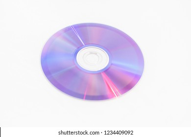 CDs DVDs - Blank recordable DVDs (DVD-R) purple discs on white background