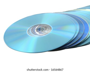 CDs DVDs Blu-ray Stack of Blue Disks Discs on White