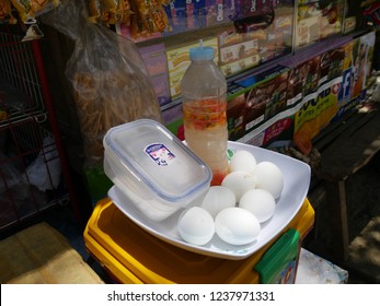 CEBU CITY, PHILIPPINES—MARCH 2018: Balut for sale. Balut is a developing duck embryo boiled and eaten from the shell and a popular Philippine street food.