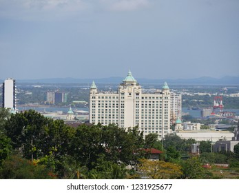 CEBU CITY, PHILIPPINES—MARCH 2018: Buildings of Cebu City seen from the Taoist Temple, Cebu.