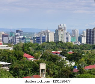 CEBU CITY, PHILIPPINES—MARCH 2018: Cebu City skyscrapers and tall buildings seen from Beverly Hills, Cebu.