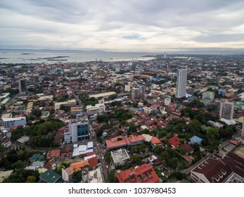 Cebu City Cityscape with Skyscraper and Local Architecture. Province of the Philippines located in the Central Visayas. Ocean in Background