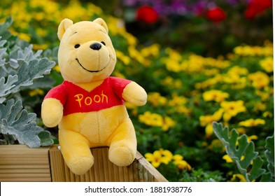 Cebu City, Philippines - 25-12-2020: Winnie The Pooh spotted spending time in a beautiful garden.